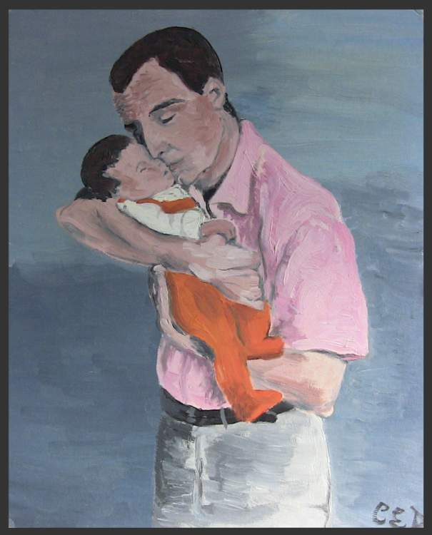 Father and Baby - oil Painting about pregnancy and childbirth