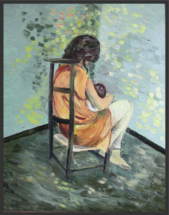 Mother Seated With Baby - an Oil Painting about pregnancy and childbirth