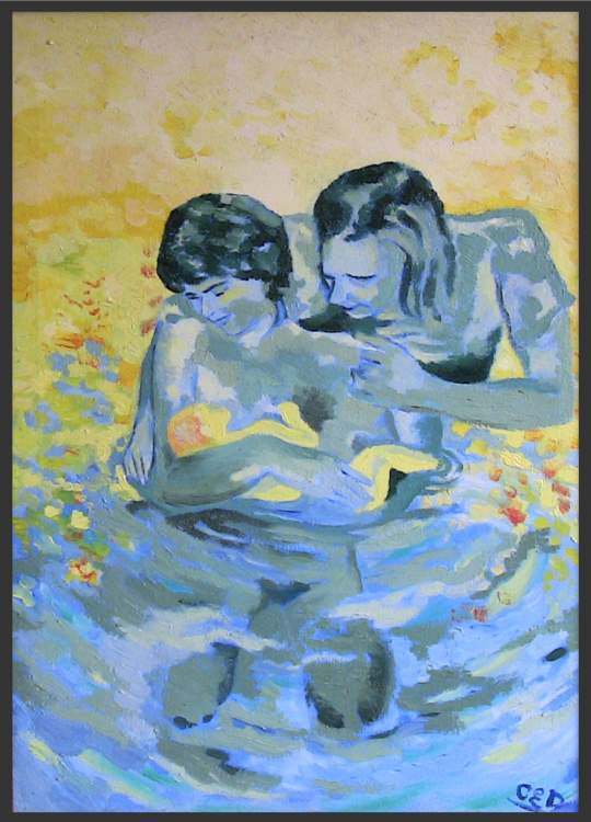 Water Birth - Oil painting about pregnancy and childbirth